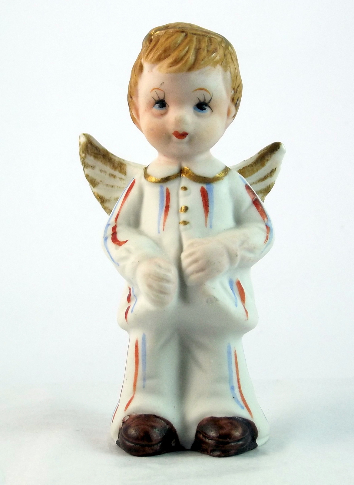 Vintage porcelain bisque boy angel figurine patriotic July birthday