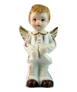 Vintage porcelain bisque boy angel figurine patriotic July birthday - $15.00