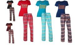 Women's NFL Tiebreaker Pajamas 2-Piece Sleep Set Tee Shirt Pants Licensed NEW