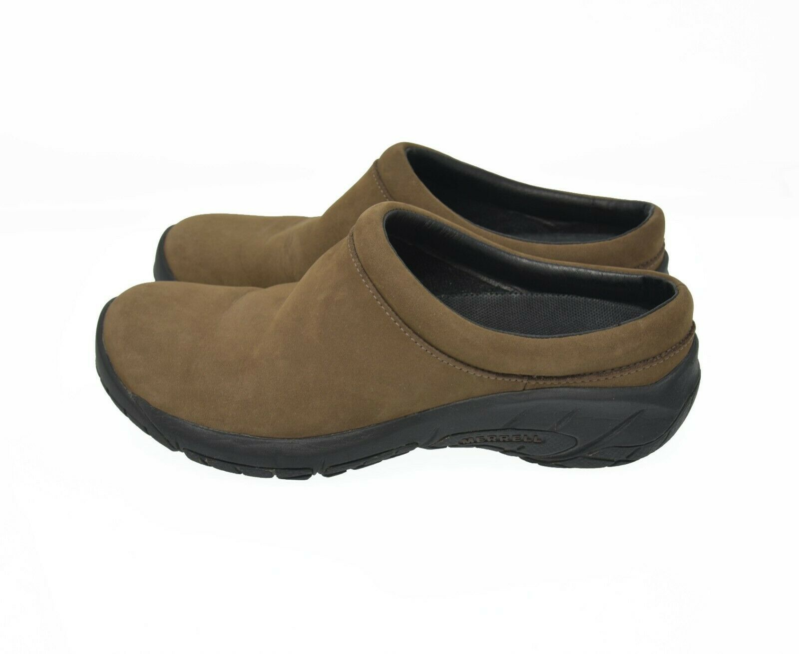 Merrell Air Cushion Women's Sz 7 EU 37.5 Brown Suede Leather Slip On Comfort