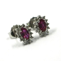 18K WHITE GOLD FLOWER EARRINGS OVAL RUBY 0.55 CARATS, DIAMONDS FRAME 0.28 CARATS image 2