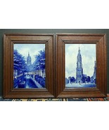 Pair Extremely Rare Royal Delft Wall Plaques Signed Original Frames 1886... - $2,565.00