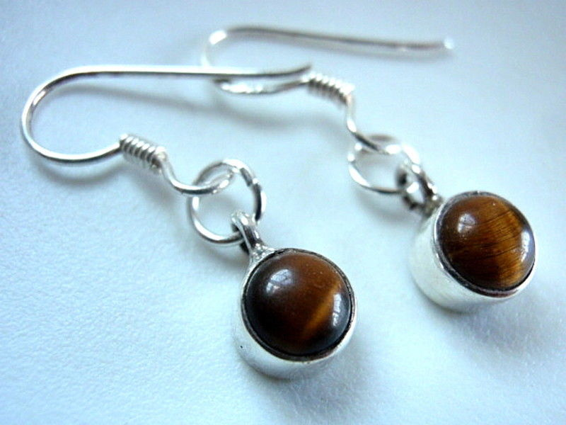 Primary image for Small Tiger Eye Round Sterling Silver Dangle Earrings