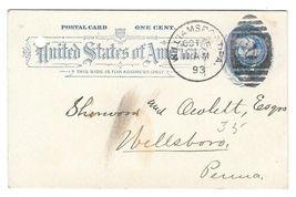 1893 Sc UX11 Postal Card 1c Grant Williamsport PA Duplex Cancel - $4.99