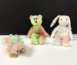 Vtg TY beanie babies Lot 3 Tie Dye Peace bear Sammy Hippie Bunny 90s Toy - $15.83
