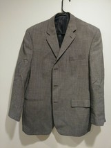 Calvin Klein Men Gray Sport Jacket Coat Houndstooth Size 44r Wool - $17.33