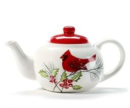 Cardinal Teapot with Christmas Theme Ceramic 47 oz