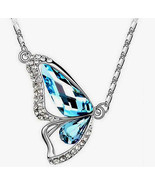 Necklace Colorful Crystal Butterfly White Gold Plated Great Inexpensive ... - $9.95