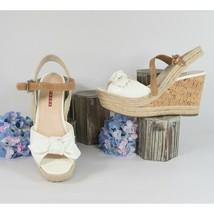 Prada Bianco White Patent Leather Vernice Soft Wedge Heels 39.5 - $247.01