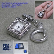 Antique Silver Ladies Vintage Pendant Pocket Watch Necklace Keychain Box... - $12.34