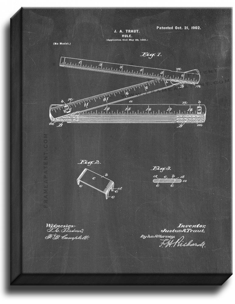 Primary image for Ruler Patent Print Chalkboard on Canvas