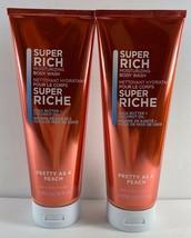 Lot of 2 Bath & Body Works Super Rich PRETTY AS A PEACH Moisturizing Bod... - $25.73