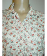 Columbia light gray black red floral print blouse top shirt pleated front-L - $12.16