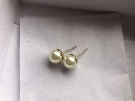 Auth Christian Dior Mise En Dior Tribales Double Pearl EARRINGS Classic Gold image 6