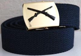 US Army Black Infantry Rifles Blue Belt & Buckle  - $14.99