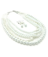 White glass pearl layered fashion necklace earring set chunky silver tone - $18.81
