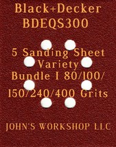 Black+Decker BDEQS300 - 80/100/150/240/400 Grits - 5 Sandpaper Variety Bundle I - $7.53