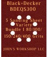 Black+Decker BDEQS300 - 80/100/150/240/400 Grits - 5 Sandpaper Variety B... - $7.53