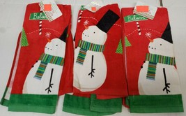 "SET OF 3 SAME PRINTED KITCHEN TERRY TOWELS (15"" x 25"") SNOWMAN, BELIEVE ... - $15.83"