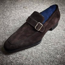 Handmade Men's Chocolate Brown Suede Monk Strap Shoes image 3