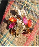 Vintage Gold Leaf Brooch w/ Orange, Pink, Amber... - $6.99