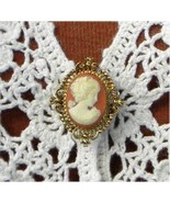 Cameo Brooch Pin Burnt Orange Vintage Avon Soli... - $4.99