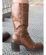 Faux Leather Brown Square toe Boot  womens sz 9... - $14.99