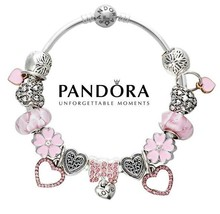 Authentic Pandora S925 Silver Bangle Bracelet with Charms Love Heart But... - $84.14