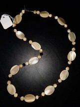 Simple Elegance, OOAK Mother of Pearl & Amber Swarovski Crystal Necklace - $28.00