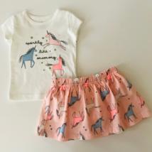 Carters Baby Girl 3 Months 2-Piece Unicorn Tee & Skort Set Clothes Pink White - $16.99