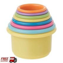 Stack Up Cup Toys Set Of 8 Brightly Colored Cups For Baby Development Fu... - $9.89