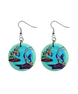 "Roadrunner And Coyote 1"" Button Dangle Earrings - $7.00"