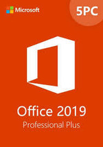 Microsoft Office Pro Plus 2019- 32/64 bit License for 5 PCs-5 Users - $68.99