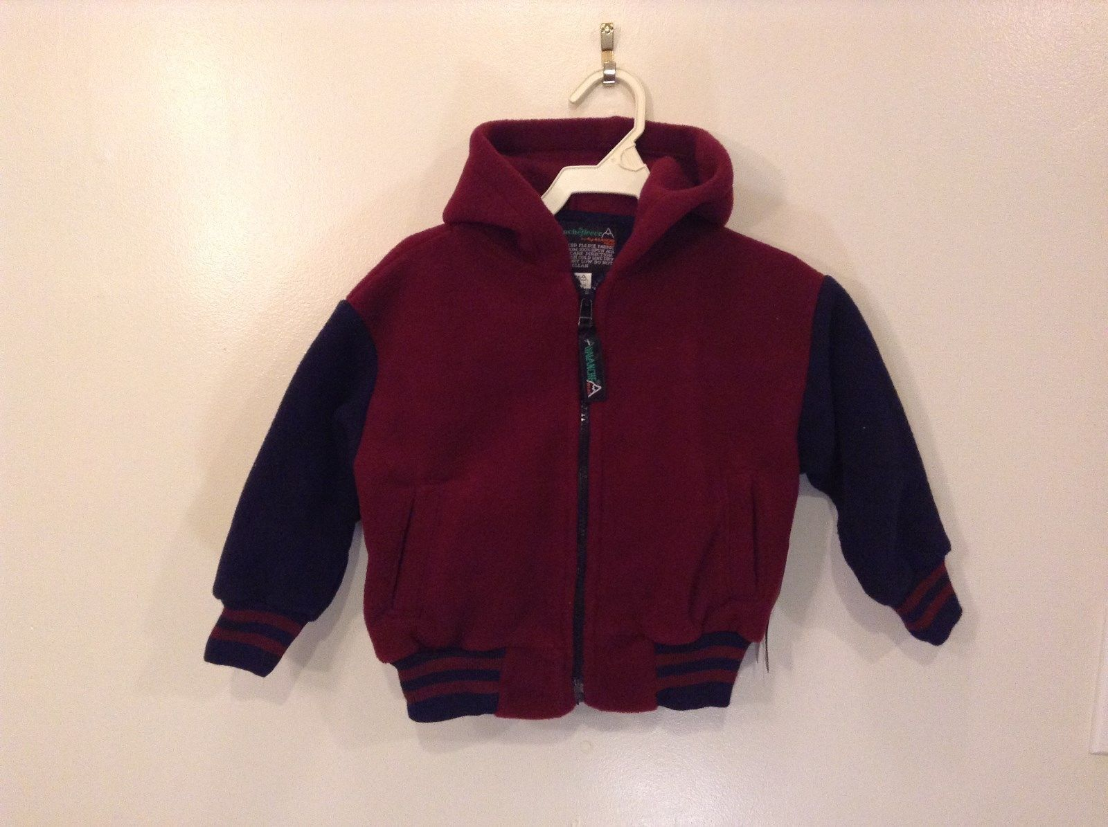 Avalanche Wear Fleece Hooded Jacket Navy Blue Maroon Front Zipper Size 2T Small
