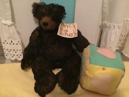 "BARBARA GOLDEN Alphabear Hand Made Mohair Bear 14"" w Tag Alphabet Block - $98.95"