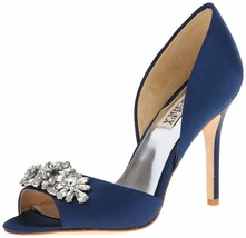 Badgley Mischka LaCie Jeweled Blue Navy Pump 9.5 EUC Retail $215 - €68,74 EUR