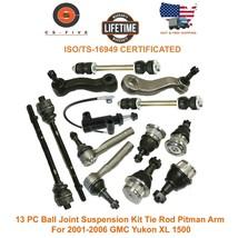 13 PC Ball Joint Suspension Kit Tie Rod Pitman Arm For 01 - 06 GMC Yukon... - $111.48