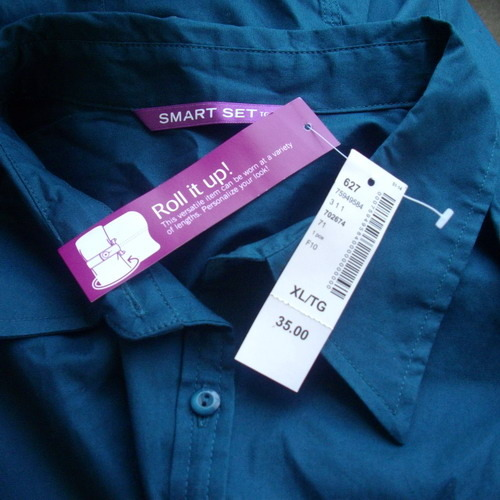 New Smart Set XL cotton & spandex teal button-down shirt with adjustable sleeves