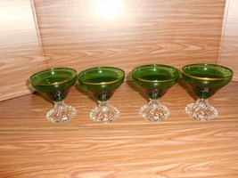 """4 Anchor Hocking Forest Green & Crystal/Gold Trim """"Inspiration"""" Footed Sherbets - $19.75"""