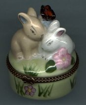 TWO SLEEPY BUNNY RABBIT HINGED BOX - £8.48 GBP