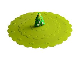 Black Temptation 2 Pcs Cartoon Christmas Tree Silicone Cup Lid/Cover - $15.23