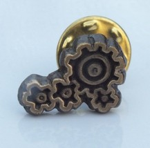 Vintage Lapel Pin Depicting 4 Gears Working in Tandem - With Pin Back - $9.89