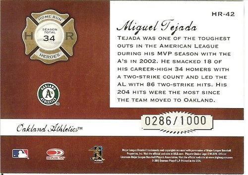 2005 donruss oakland athletics miguel tejada serial # 286/1000
