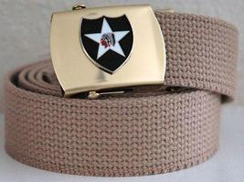 US Army 2nd Infantry Division Khaki Belt & Buckle  - $14.99