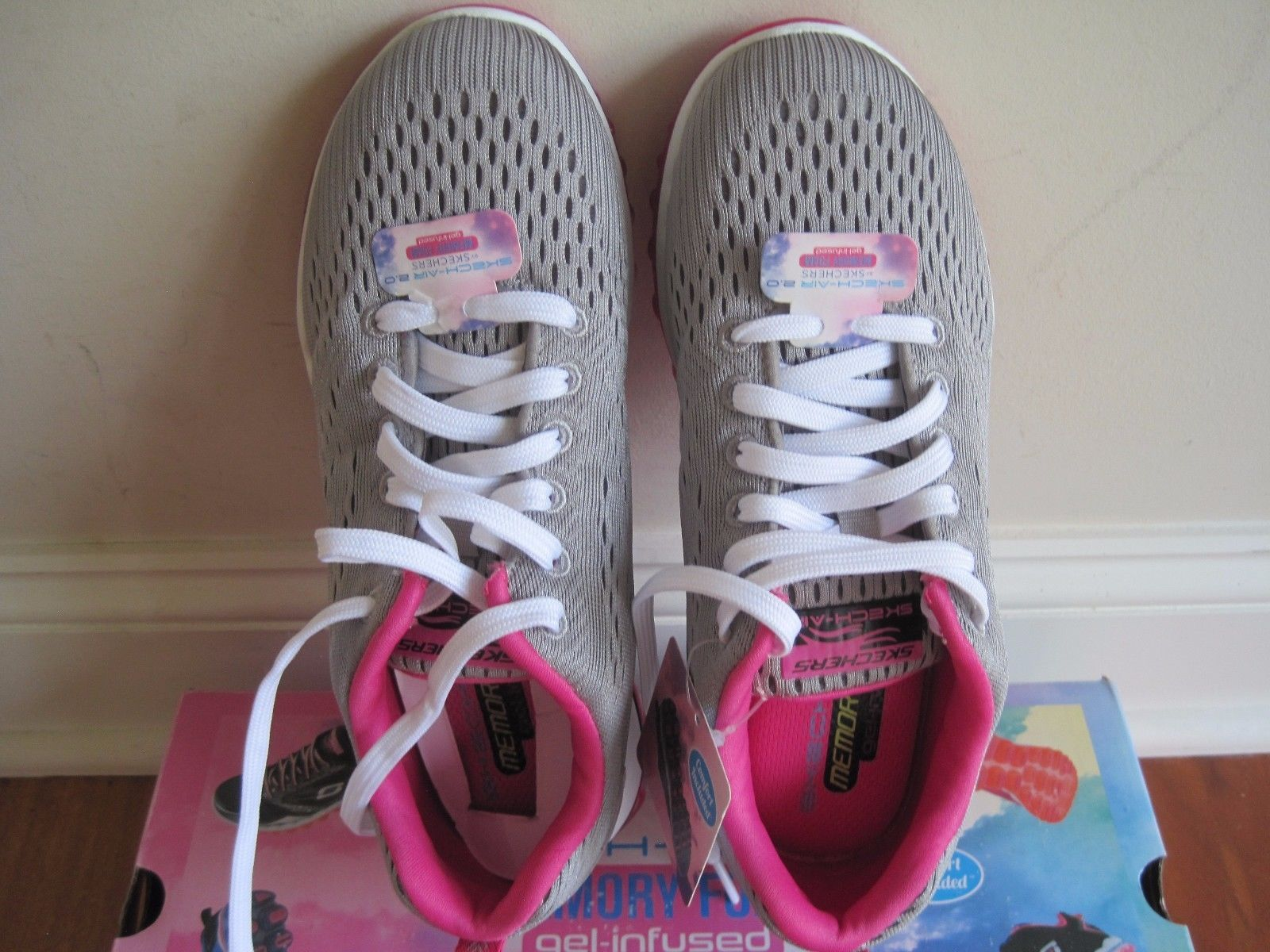 "BNIB Skechers® Women's ""Skech-Air 2.0"" Aim High Training Shoes, grey/pink, $85 image 2"