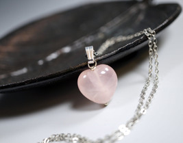 Rose Quartz Necklace - Sterling Silver Rose Quartz Heart Necklace - Ston... - $34.00