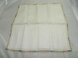 Vintage Ivory Colored Multi Colored Pastel Tatted Linen Handkerchief - $7.92