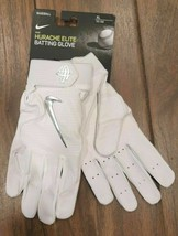 Nike Hurache Elite Baseball Batting Gloves Men's SizeXL White/Chrome New - $35.99