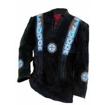 Men's New Native American Eagle Beads Fringes Black Suede Leather Shirt FJ124B image 4
