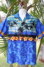 NEW Blue Hawaiian Sunset Palm Tree Hibiscus Men Aloha Shirt ~ MADE IN HA... - $26.72+